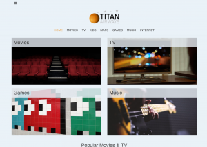 Image of home page of Titan Airways' IFE passenger interface