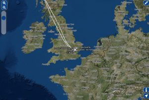 Image of test flight route as shown on Bluebox wireless IFE's moving map integrated into the Titan Airways passenger interface