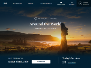 Image of home page of TCS World Travel's IFE passenger interface