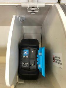 Bluebox Wow installed in overhead locker