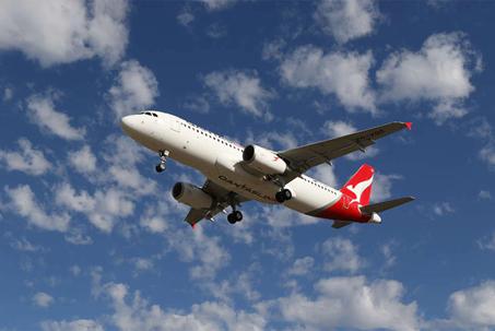 Photograph of a QantasLink Airbus A320 aircraft flying